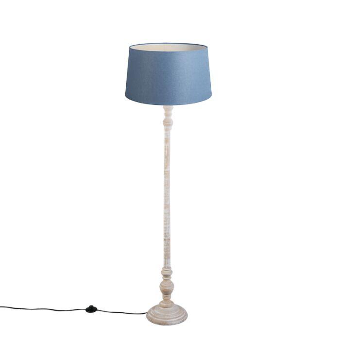 Stehleuchte-Classico-mit-blauem-Leinenschirm-45cm