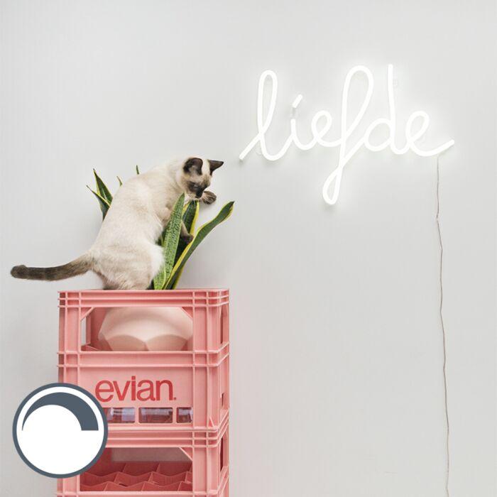 Wandleuchte-weiß-mit-Fernbedienung-inkl.-LED---Neon-Love
