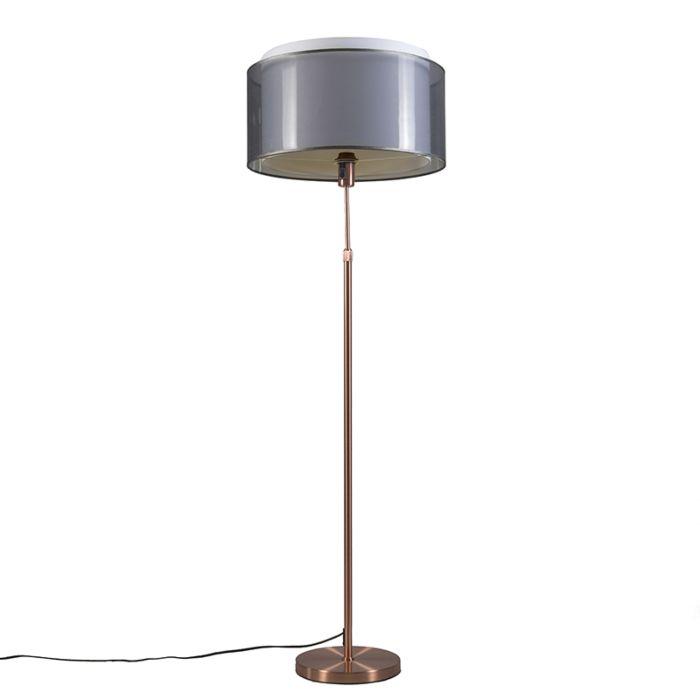 Kupfer-Stehleuchte-mit-schwarz-/-weißem-Schirm-47-cm-verstellbar---Parte