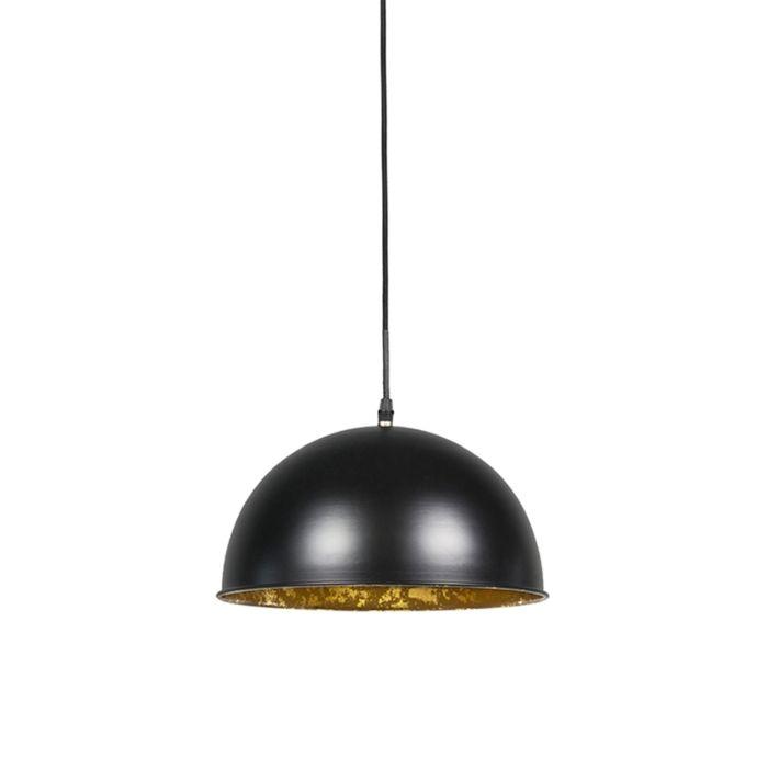Industrielle-Hängelampe-schwarz-mit-Gold-30-cm---Magna