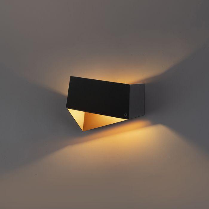 Design-Wandleuchte-schwarz-mit-Gold---Fold
