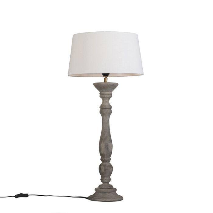 Tischleuchte-Ritual-grau-mit-Schirm-35cm-weiß