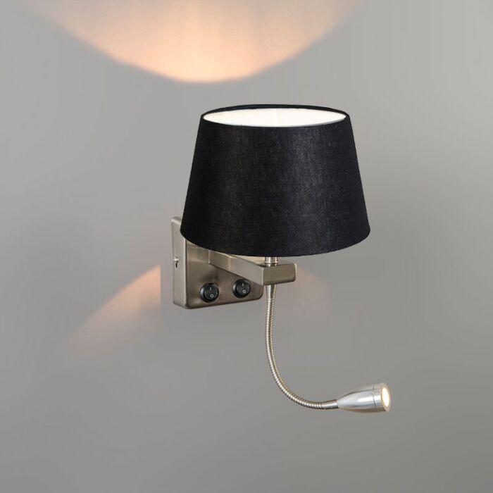 Wandleuchte-Brescia-Combi-Stahl-mit-Schirm-20-cm-schwarz