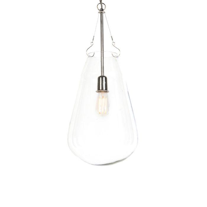 Design-Glas-Hängelampe-mit-Nickel---Sikka