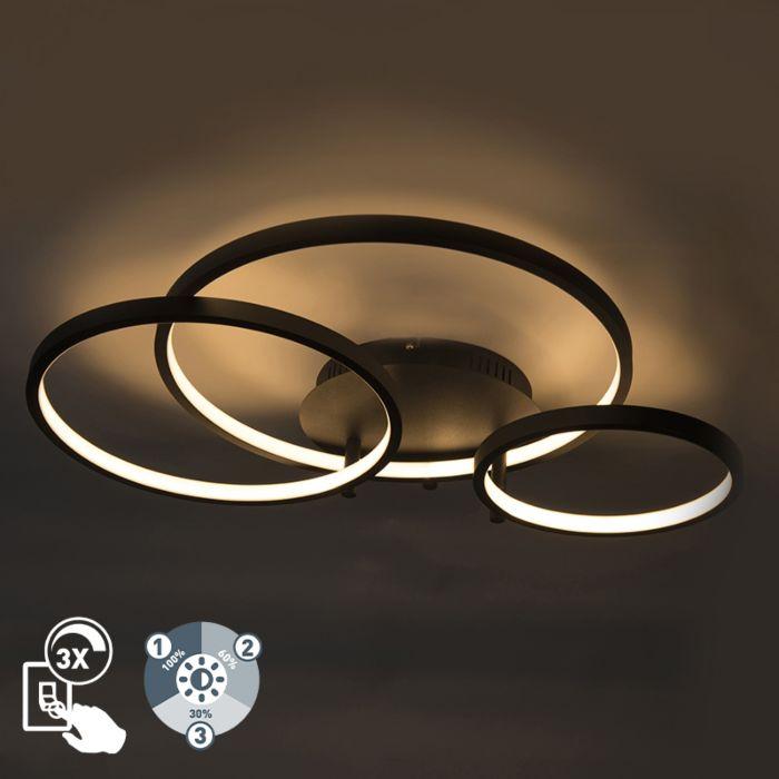 Moderne-Deckenleuchte-schwarz-inkl.-LED-und-Dimmer-Rondas