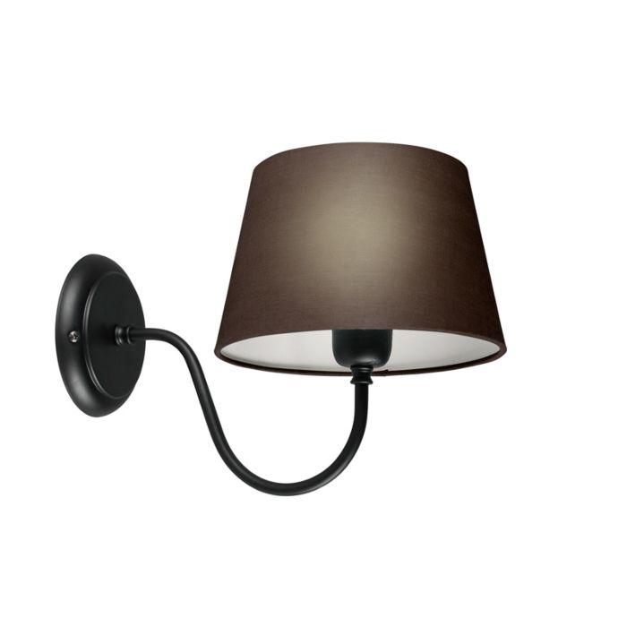 Wandleuchte-Combi-Classic-schwarz-mit-Schirm-20-cm-braun-grau