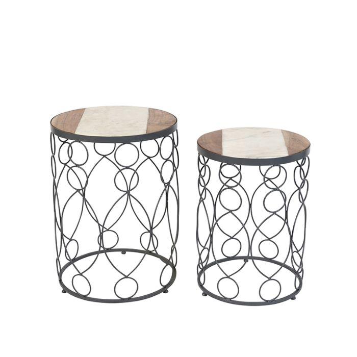 Beistelltisch-Marm-Beton-mit-Holzmarmor-2er-Set