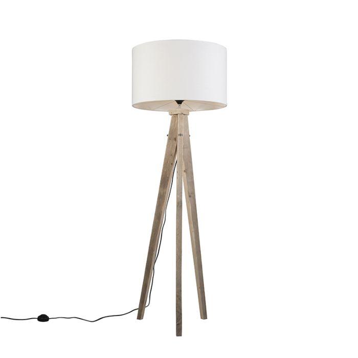 Stehleuchte-Karos-Natur-mit-Lampenschirm-55-cm-weiß