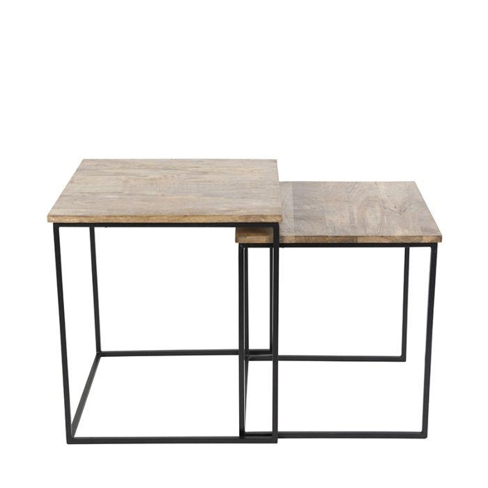 Beistelltisch-Hemis-schwarz-mit-Holzviereck-2er-Set
