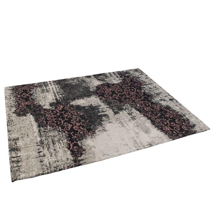 Vintage-rechteckiger-Teppich-schwarz-/-pink-160-x-230-cm---Puri