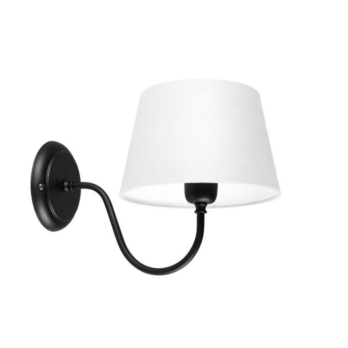 Wandleuchte-Combi-Classic-schwarz-mit-Schirm-20-cm-weiß