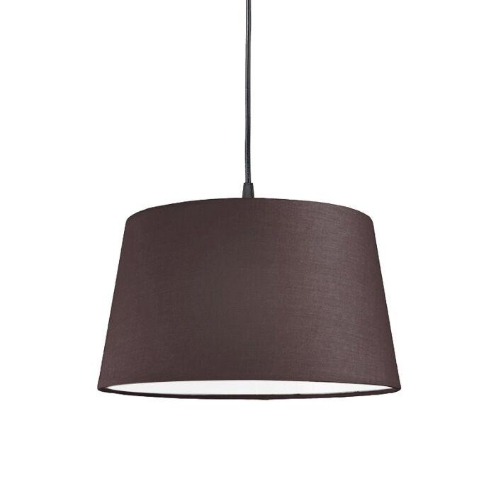 Pendelleuchte-80cm-E27-schwarz-mit-Lampenschirm-45cm-braungrau