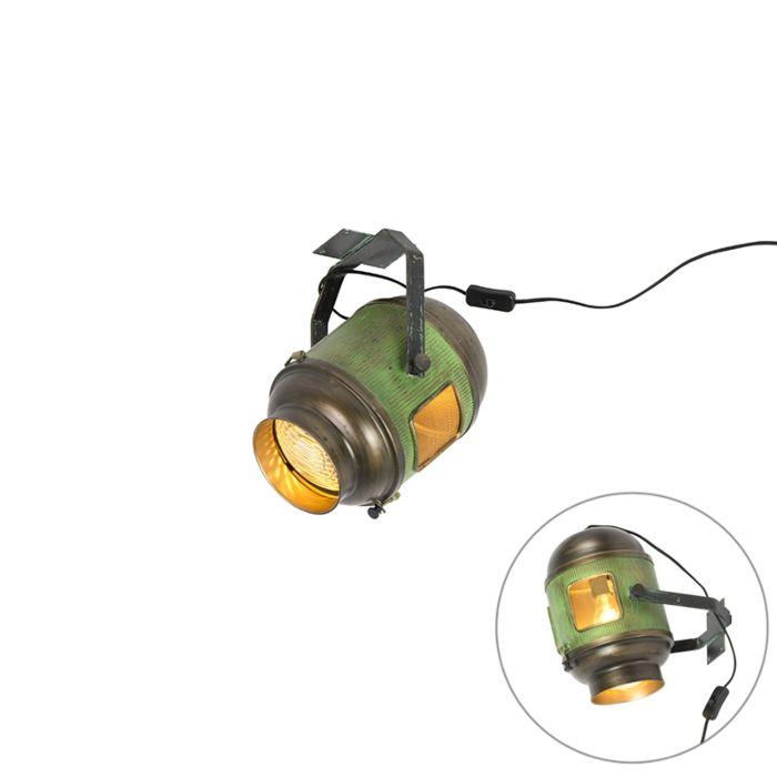 Vintage-Film-Spot-Deckenlampe-antikgrün-mit-Bronze---Byron