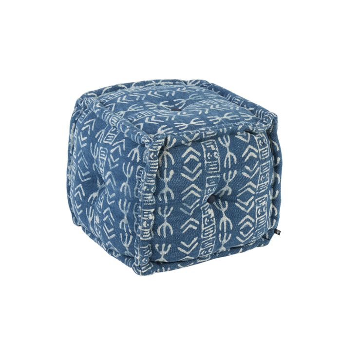 Orientalische-quadratische-Ottomane-40x40cm-blau---Varanasi