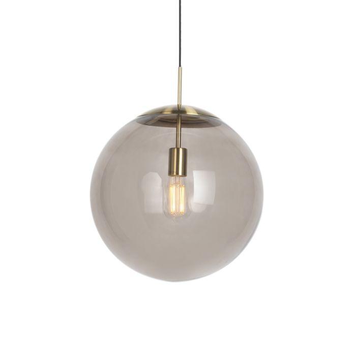 Moderne-Hängelampe-Messing-mit-Rauchglas-40-cm---Ball