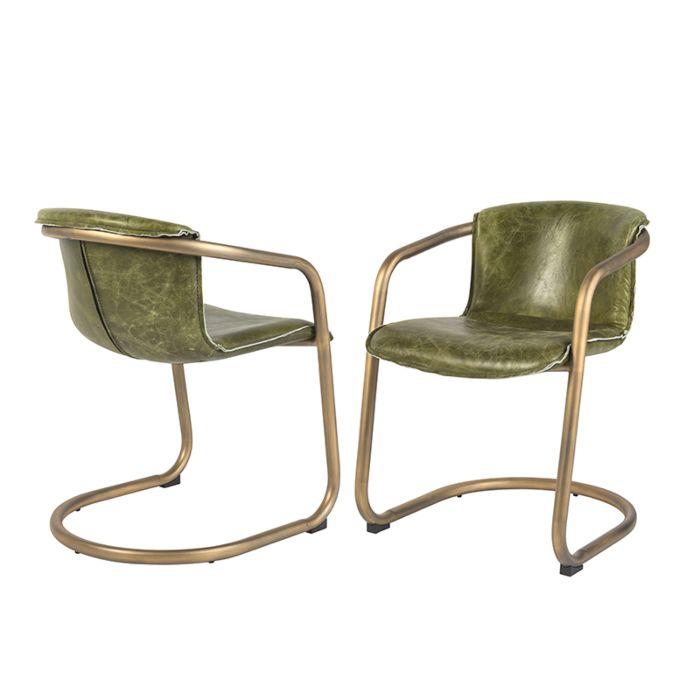 Set-mit-2-Vintage-Esszimmerstühlen-aus-verwittertem-olivgrünem-Leder---Banna