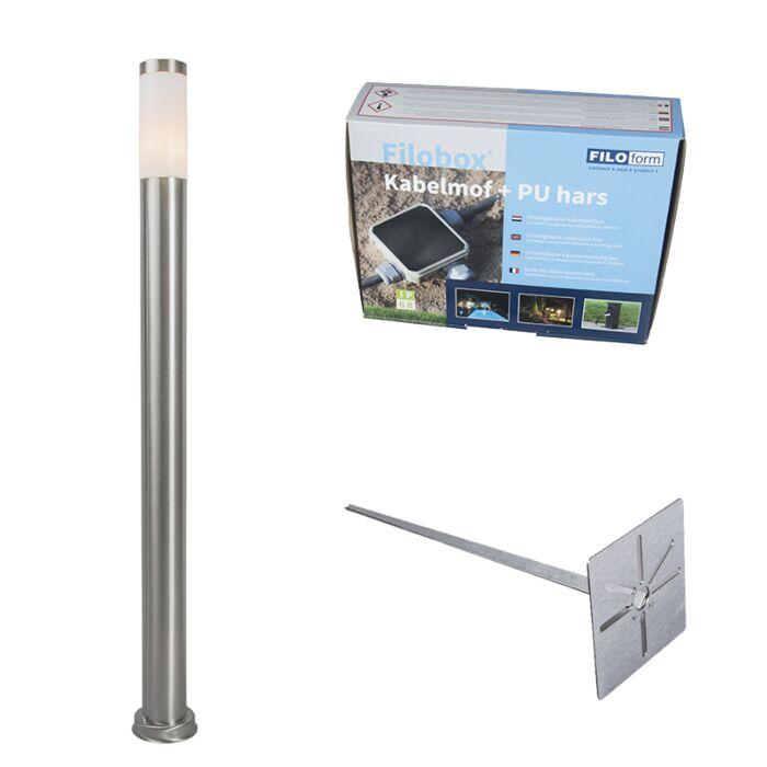 Außenlaterne-Stahl-110-cm-IP44---Rox-mit-Erdungsstift-und-Kabelmuffe