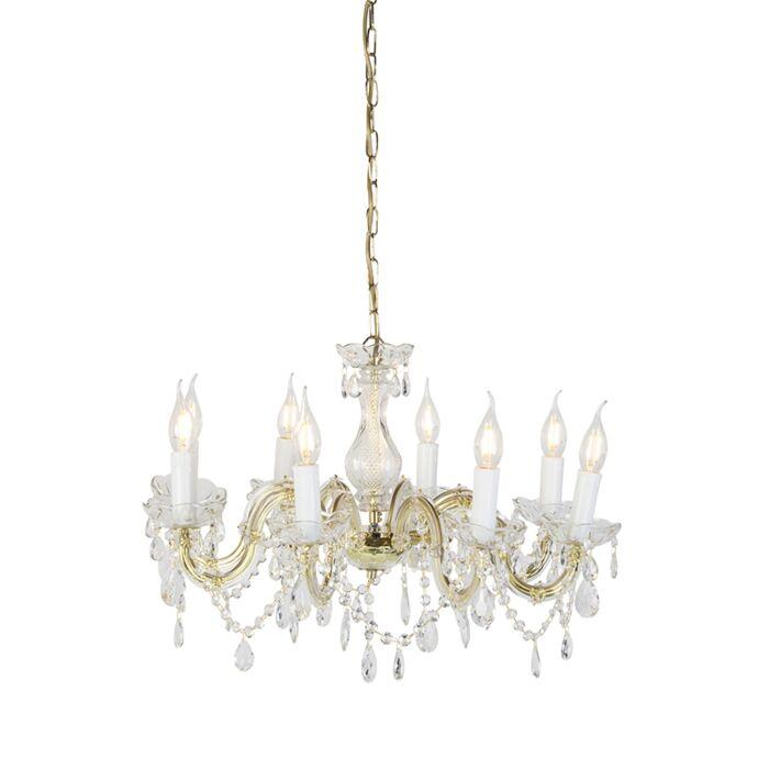 Vintage-Kronleuchter-Glas-Kristall-Messing-8-Arm-8-Licht---Marie-Theresa