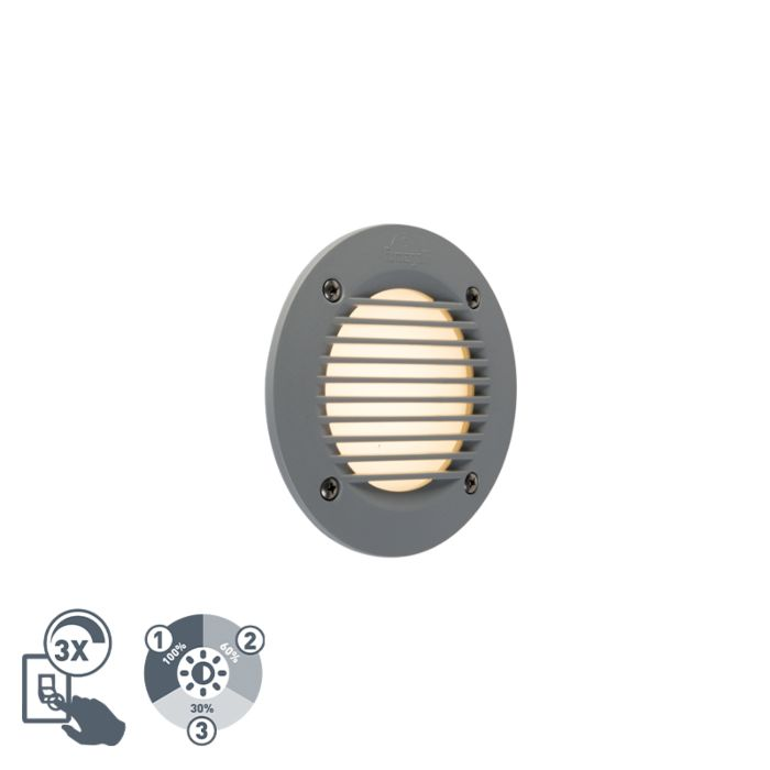 Moderner-runder-Außenwandstrahler-grau-inkl.-LED-IP65---Leti