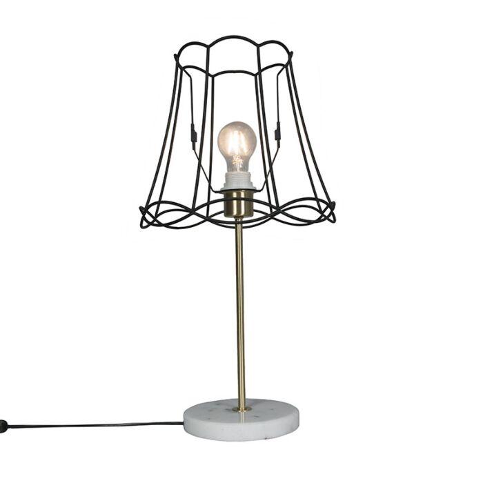 Retro-Tischlampe-Messing-mit-Granny-Lampenschirm-schwarz-30-cm---Kaso