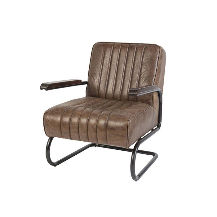 Vintage-Sessel-aus-verwittertem-teakbraunem-Leder---Cito