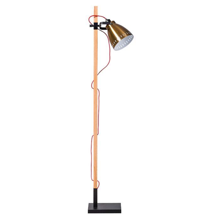Country-Stehlampe-aus-Holz-mit-goldenem-Vintage-Schirm---Biscari
