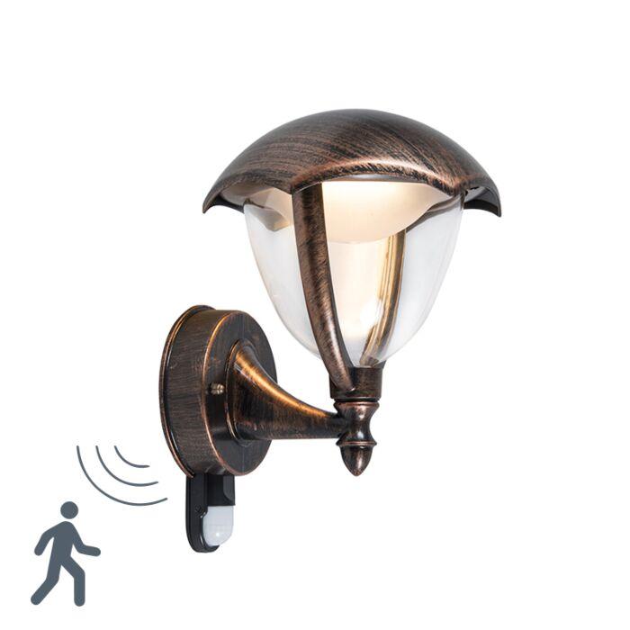Moderne-Wandleuchte-Antik-Rost-LED-mit-Bewegungssensor---Cappe