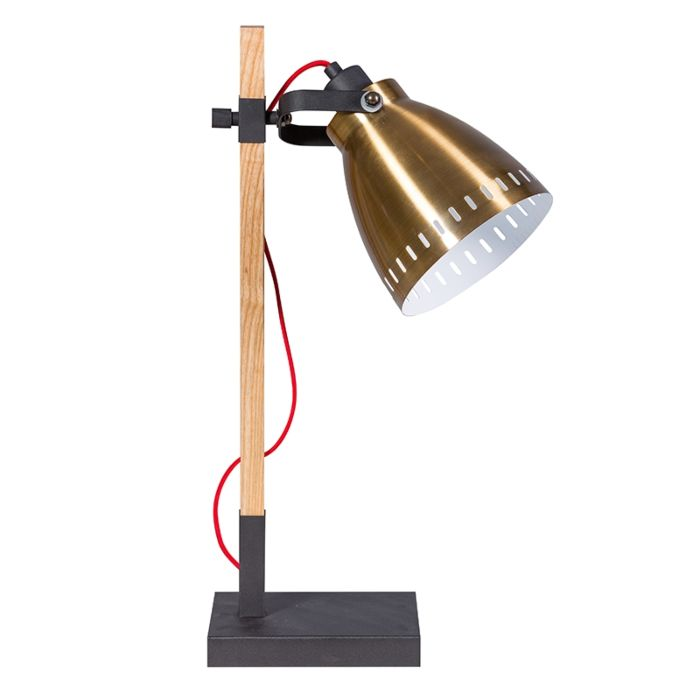 Ländliches-Tischlampenholz-mit-goldenem-Schatten-der-Weinlese---Biscari