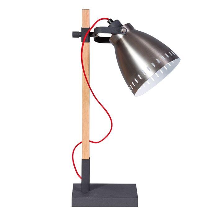 Rural-Tischlampe-Holz-mit-silbernem-Schirm---Biscari