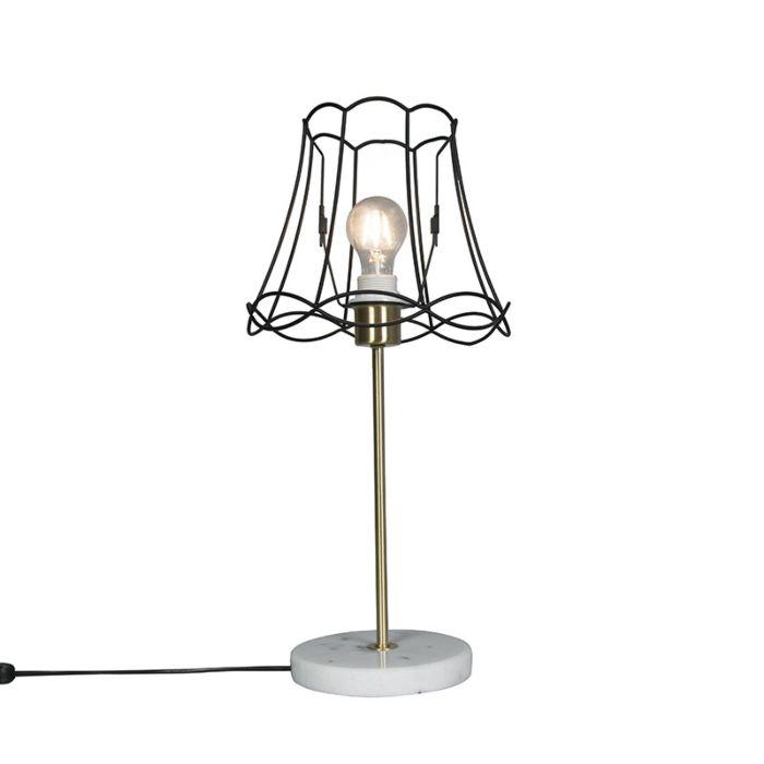 Retro-Tischlampe-Messing-mit-Frame-Lampenschirm-Granny-schwarz-25-cm---Kaso