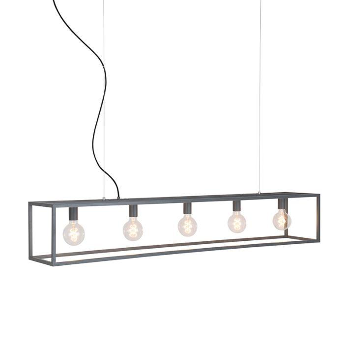 Industrielle-Hängelampe-grau-5-Licht---Käfig