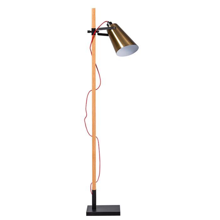 Country-Stehlampe-aus-Holz-mit-goldenem-Vintage-Schirm---Fresno