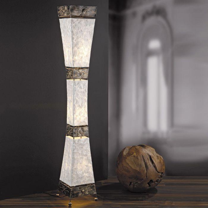 Art-Deco-rechteckige-Stehleuchte-Perlmutt-mit-Metallakzenten---Abuyes