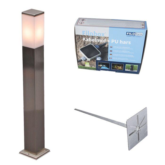 Außenleuchte-Stahl-80cm-IP44---Malios-mit-Erdungsstift-und-Kabelmuffe