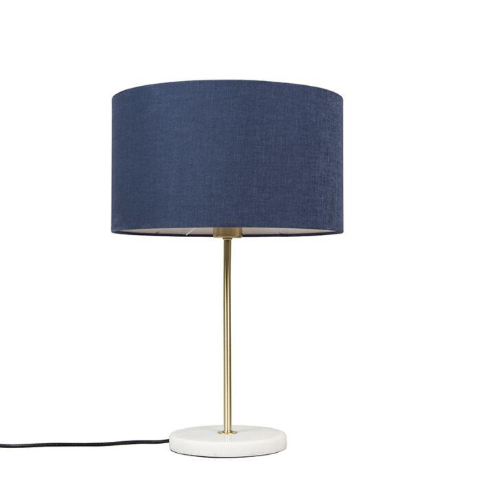 Messing-Tischlampe-mit-blauem-Schirm-35-cm---Kaso