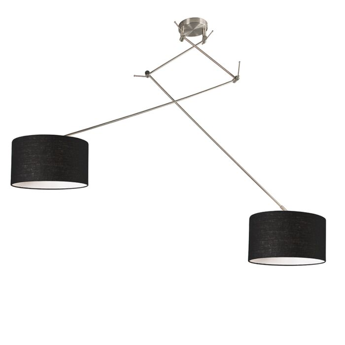 Hängelampe-Stahl-mit-Schirm-35-cm-schwarz-verstellbar---Blitz-II