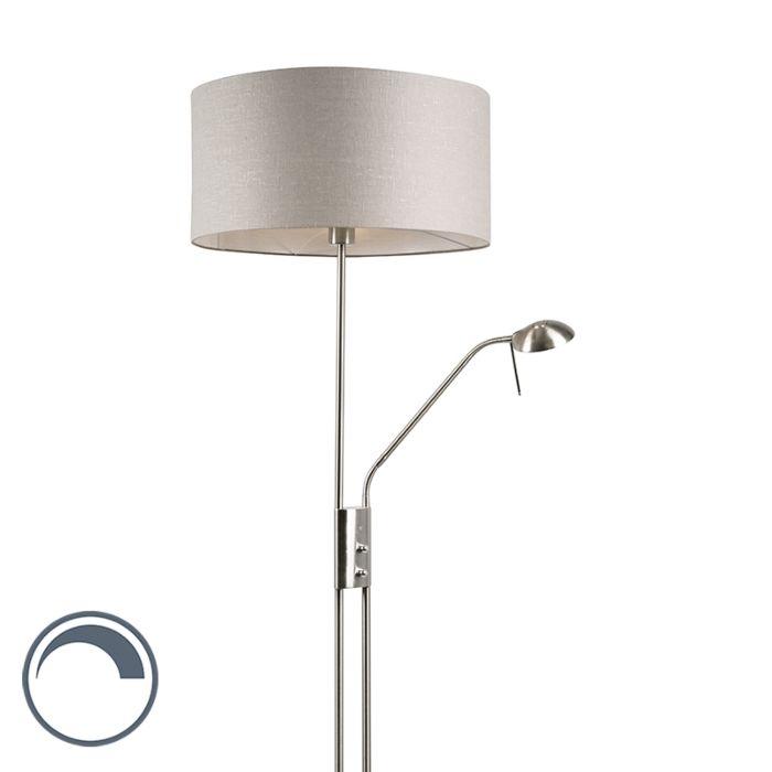 Stehlampe-Stahl-und-Grau-mit-verstellbarem-Lesearm---Luxor