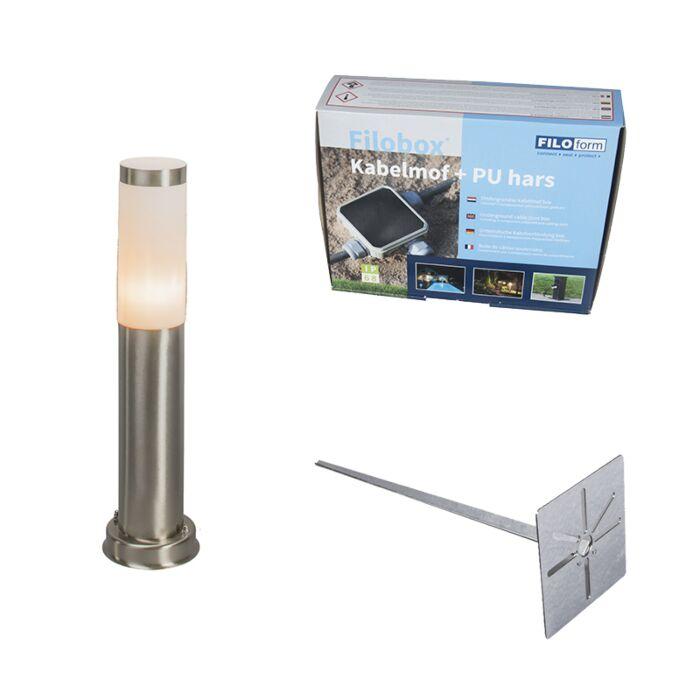 Außenleuchte-Stahl-45-cm-IP44---Rox-mit-Erdungsstift-und-Kabelmuffe