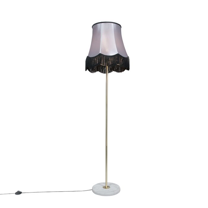Messing-Stehleuchte-mit-Oma-B-Schirm-schwarz-grau-45-cm---Kaso