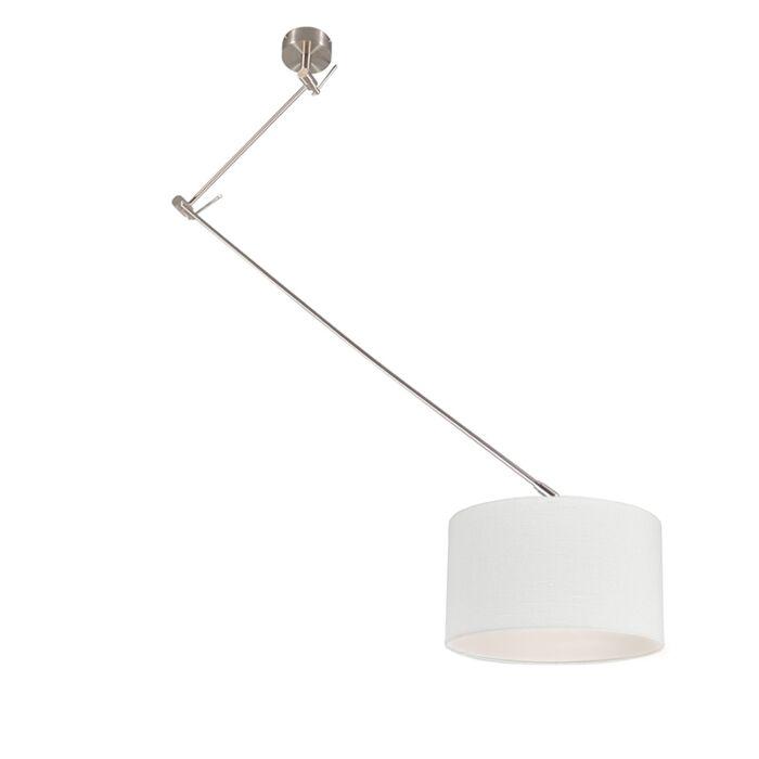 Hängelampe-Stahl-mit-Schirm-35-cm-weiß-verstellbar---Blitz-I