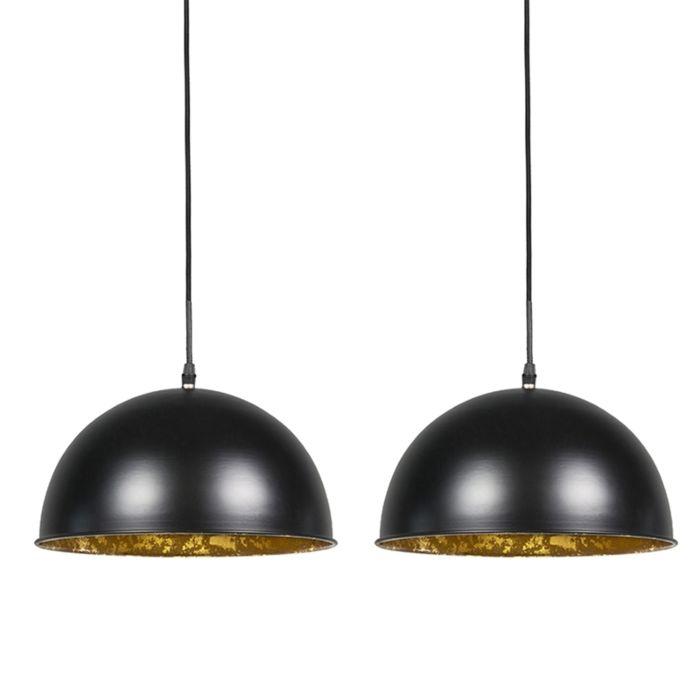 2er-Set-Hängelampen-schwarz-mit-Gold-30-cm---Magna