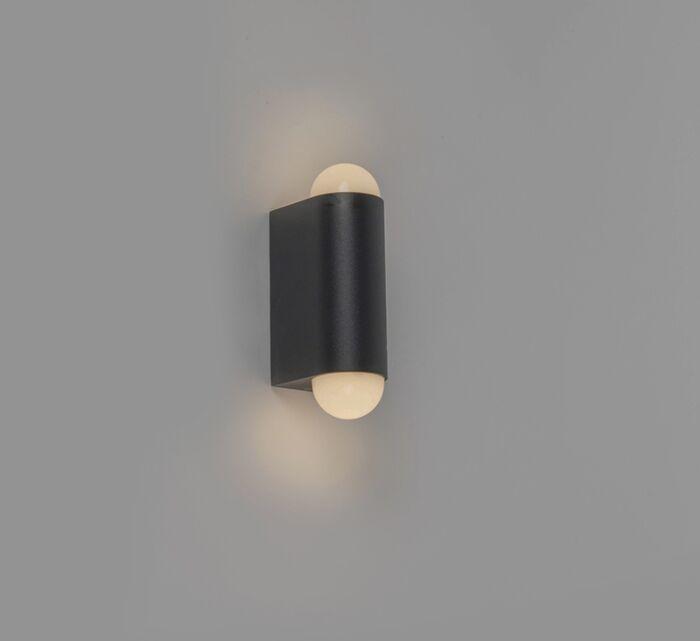 Moderne-Außenwandleuchte-schwarz-inkl.-LED-mit-2-Lichtpunkten---Prim