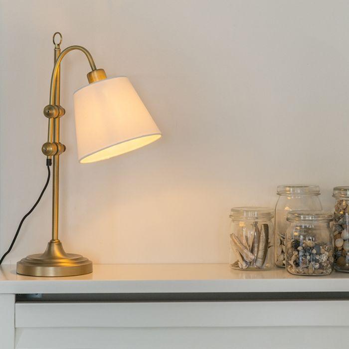 Klassische-Tischlampe-Bronze-mit-weißem-Schirm---Ashley