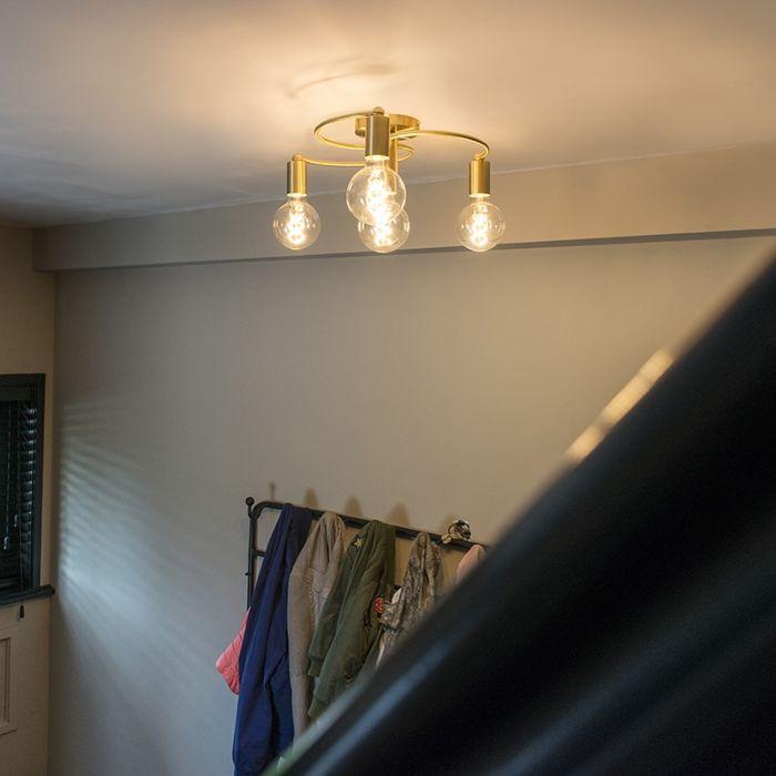 Art-Deco-Deckenlampe-Messing-4-Licht---Facil
