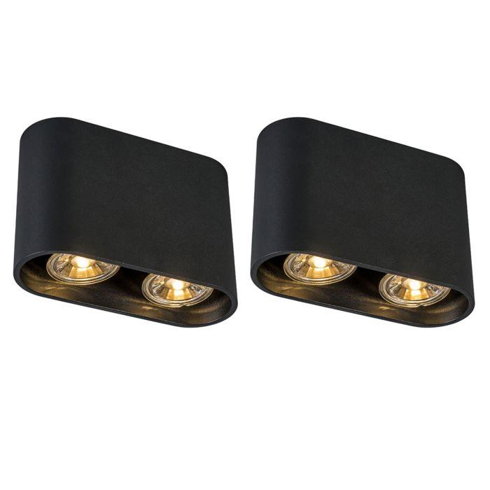 Set-mit-2-modernen-Spots-schwarz---Ronda-Duo