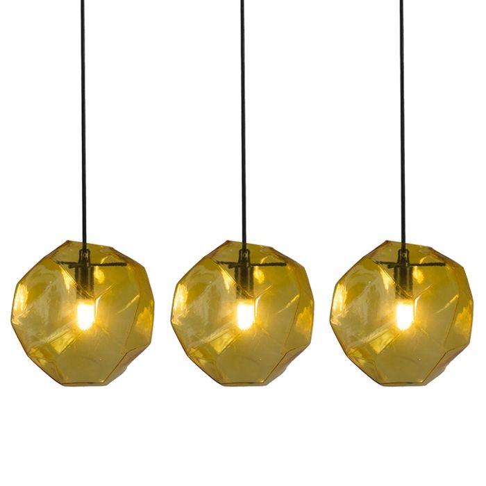 3er-Set-Diamante-gelbe-Hängelampen