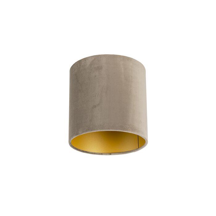 Velour-Lampenschirm-taupe-20/20/20-mit-goldener-Innenseite