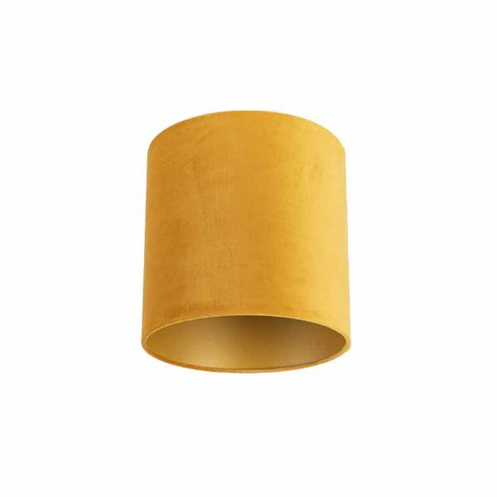 Velours-Lampenschirm-gelb-25/25/25-mit-goldener-Innenseite