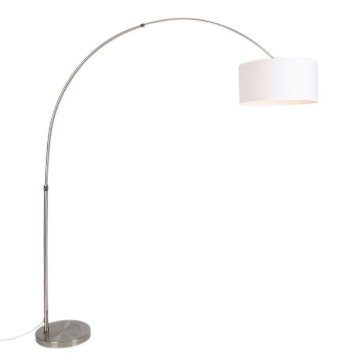 Moderne-Stahlbogenlampe-mit-Schirm-50/50/25-weiß-verstellbar