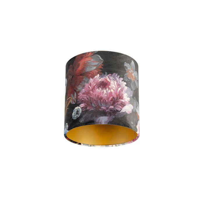 Velour-Lampenschirm-Blumenmuster-20/20/20-goldene-Innenseite